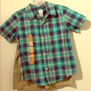 Carter's boys-5T plaid/khaki short set